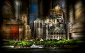 Картинка обработка, размытие, Manhattan, New-York, Battery Park