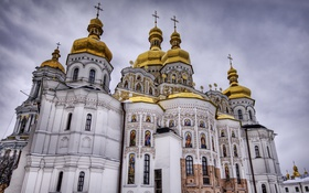 Обои church, construction, Monastery of the caves in Kiev