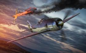 Обои самолет, огонь, дым, падение, aviation, авиа, MMO