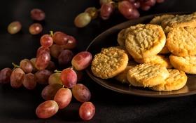 Обои ягоды, виноград, натюрморт, лимонное печенье