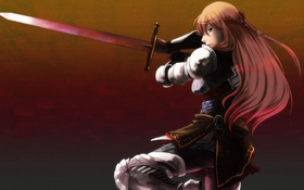 Картинка девушка, оружие, меч, арт, броня, vocaloid, megurine luka