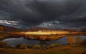 Обои осень, горы, тучи, природа, река, холмы, Китай