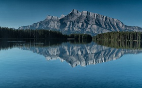 Картинка night, mountain, lake, canada, banff, mount rundle
