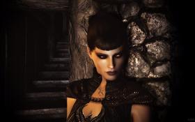 Обои девушка, замок, ступени, Skyrim, Nightingale, Amaryllis