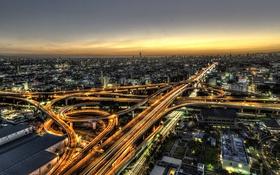Обои закат, Япония, Осака, фонари, дорога, сумерки