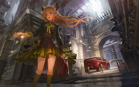 Картинка машина, девушка, город, арт, фонари, сумка, красная