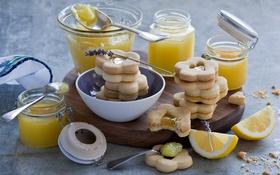 Обои джем, лимоны, печенье
