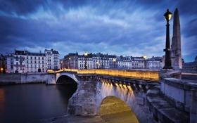 Картинка ночь, мост, Париж, пон