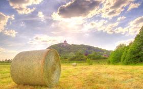 Обои облака, небо, поле, сенокос, урожай, фермы, холм