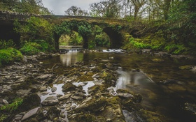 Обои мост, отражение, река, камни, зеркало, дождливое
