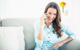 Картинка woman, joy, smiling, living, talking on phone
