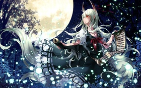 Картинка звезды, ночь, луна, Девушка, демон, свиток