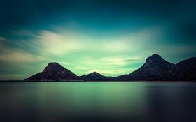 Обои озеро, зеркало, отражение, горы, силуэт, небо, облака