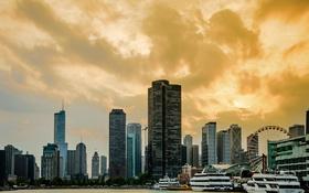 Обои здания, яхты, небоскребы, вечер, Чикаго, USA, Chicago
