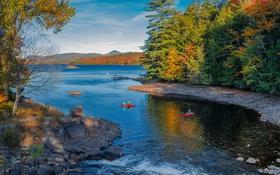 Картинка осень, деревья, озеро, лодка, США, штат Нью-Йорк