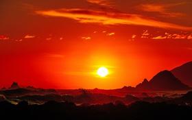 Картинка море, волны, небо, солнце, пейзаж, закат
