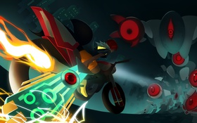 Картинка девушка, меч, арт, мотоцикл, red, враг, transistor