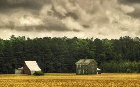 Обои ферма, дом, дождливый, поле, деревья, сарай, облака