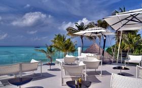 Обои мебель, отдых, зонтики, Мальдивы, пальмы