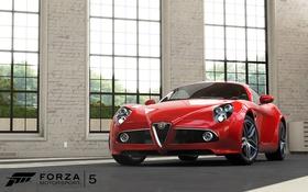 Обои окна, ангар, красная, помещение, Forza Motorsport 5? машина