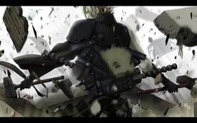 Обои обломки, голубые глаза, Cloud, со спины, воин, доспехи, Final Fantasy
