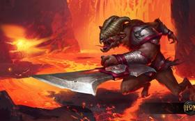 Обои вулкан, лезвие, лава, Predator, heroes of newerth, Ba'al Predator