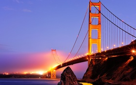Обои река, golden gate bridge, California, ночь, USА, Sausalito