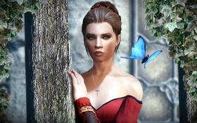 Обои девушка, бабочка, столб, Skyrim, плющ, Caelya