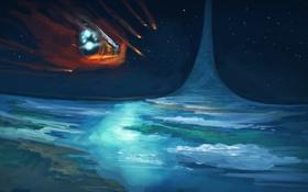 Обои art, космос, посадка, Crash, halo, прибытие