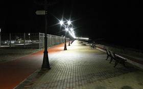 Картинка море, пейзаж, ночь, фонарь, набережная