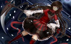 Картинка Девушка, лента, коса, колокольчик, гетерохромия