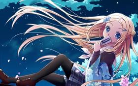 Картинка девушка, облака, ночь, ветер, лепестки, сакура, арт