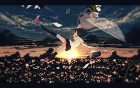 Обои machiyaaa, сумка, школьница, форма, арт, падение, аниме