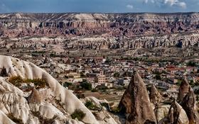 Картинка горы, город, скалы, дома, долина, Турция, конус