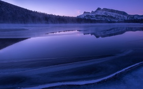 Картинка ice, forest, winter, mountain, lake, morning