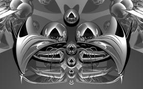 Картинка кошка, металл, абстракция, рендеринг, фрактал, хром, усики