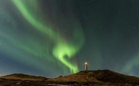 Картинка небо, звезды, маяк, северное сияние, Исландия