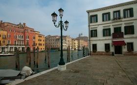 Обои небо, дома, Италия, Венеция, канал, набережная