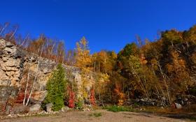 Картинка небо, деревья, скала, камни