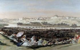 Обои пейзаж, река, город, люди, Франсиско Гойя, отдых, картина