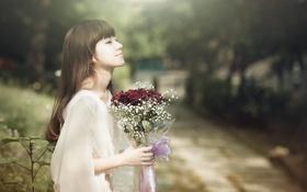 Обои цветы, настроение, девушка