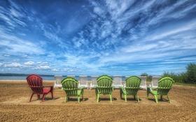 Картинка шезлонги, hdr, пляж, песок