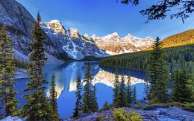 Обои снег, деревья, пейзаж, горы, озеро, красота