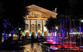 Обои ночь, город, люди, фонтан, Россия, Russia, Театральная площадь