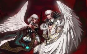 Обои девушка, магия, крыло, lineage 2, парень, красные глаза, the kamael