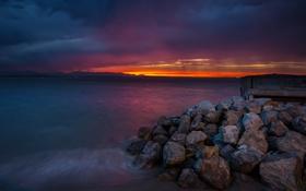 Картинка пейзаж, закат, океан, берег, West Seattle