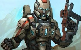 Обои костюм, автомат, шлем, броня, mass effect