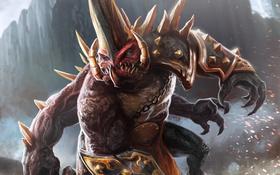 Обои монстр, лапы, цепь, клыки, рог, Dungeon Hunter 4, Оугон Кровопийца