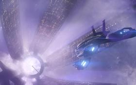 Обои космос, свет, город, корабль, Цитадель, Mass Effect, Нормандия