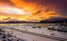 Картинка Alaska, winter, mountains, Turnagain arm sunset
